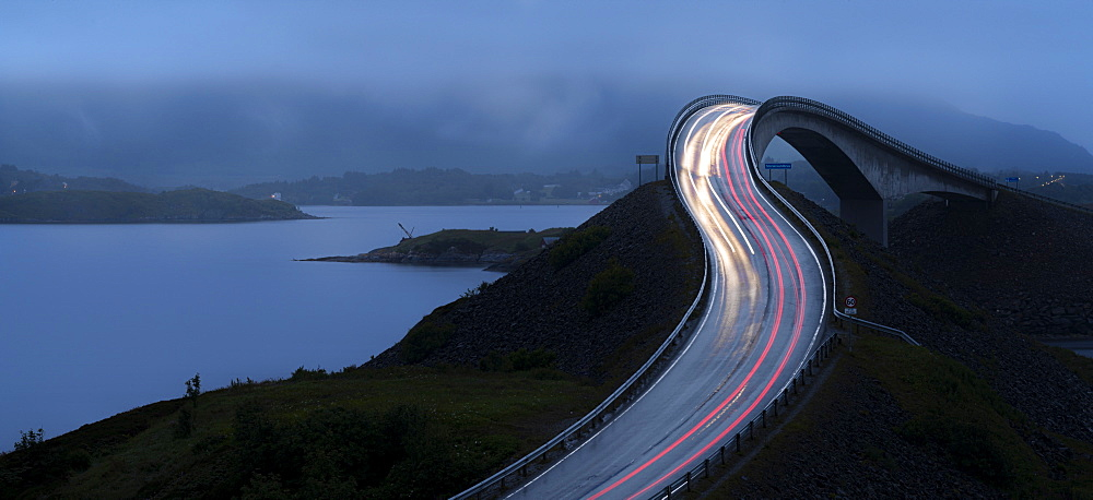 Car lights trails on Storseisundet Bridge along the Atlantic Road, More og Romsdal county, Norway, Scandinavia, Europe