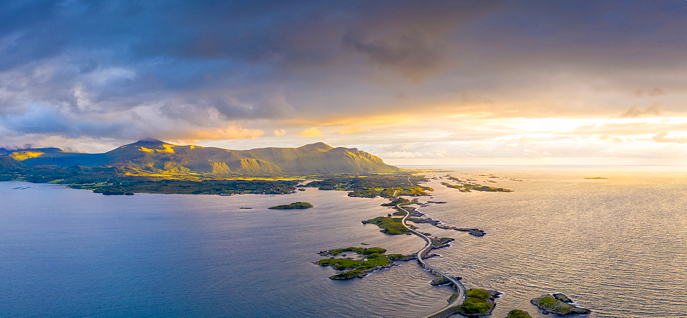 Aerial panoramic of Storseisundet Bridge at sunset, Atlantic Road, More og Romsdal county, Norway (drone)