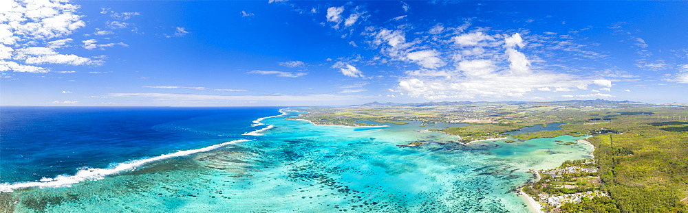 Turquoise coral reef meeting the waves of the Indian Ocean, aerial view, Poste Lafayette, Indian Ocean, East coast, Mauritius