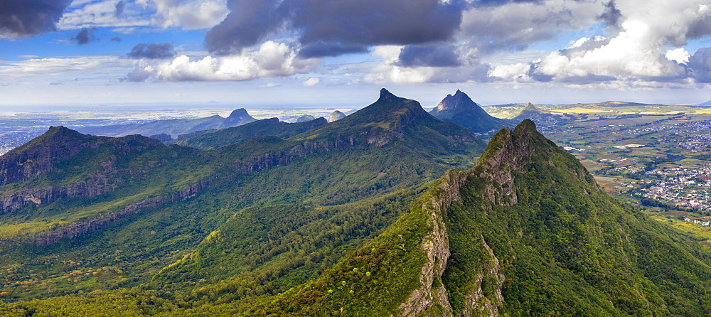 Aerial panoramic of Le Pouce mountain, Moka Range, Port Louis, Mauritius, Africa