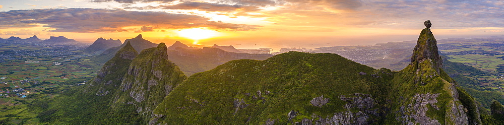 Aerial panoramic of sunset over Le Pouce and Pieter Both mountains, Moka Range, Port Louis, Mauritius, Africa - 1179-4137