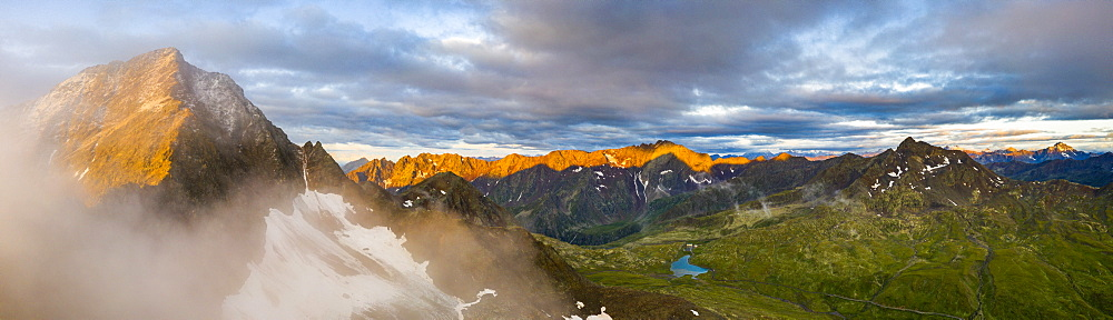 Aerial panoramic of Corno dei Tre Signori and Gavia Pass at dawn, Valtellina, Sondrio province, Lombardy, Italy, Europe