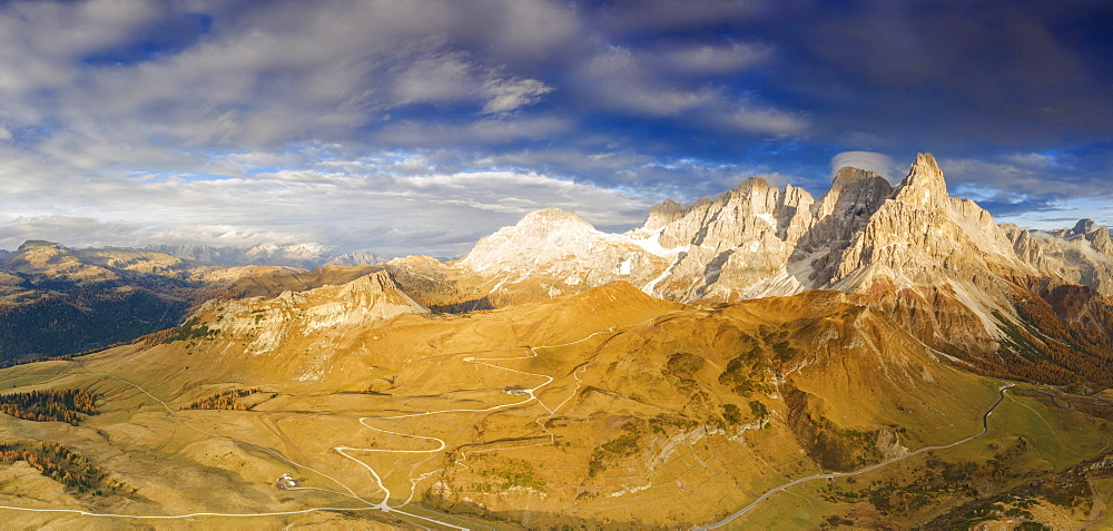 Aerial panoramic of Cimon della Pala and Castellaz in autumn, Pale di San Martino, Rolle Pass, Dolomites, Trentino, Italy, Europe