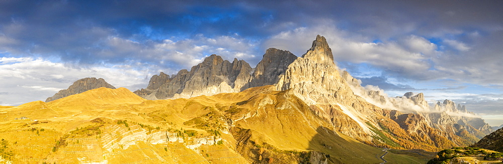 Aerial panoramic of Cimon della Pala during the autumn sunset, Pale di San Martino, Rolle pass, Dolomites, Trentino, Italy