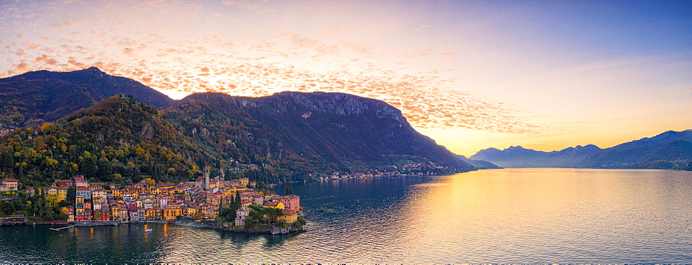 Panoramic of Varenna and Lake Como at sunrise, aerial view, Lecco province, Lombardy, Italy