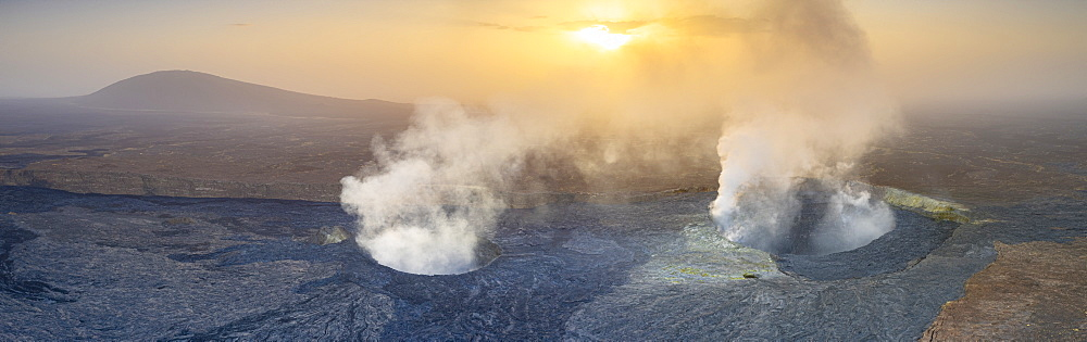 Panoramic of Erta Ale volcano at sunset, Danakil Depression, Afar Region, Ethiopia, Africa
