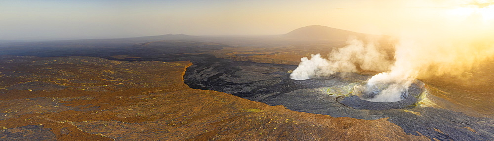 Panoramic of sunset over the fumarole of Erta Ale volcano, Danakil Depression, Afar Region, Ethiopia, Africa