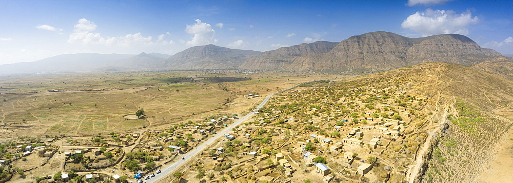 Panoramic view by drone of road crossing Berhale village, Danakil desert, Afar Region, Ethiopia, Africa