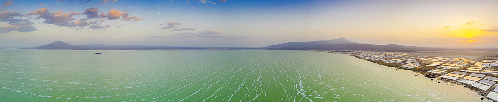 Aerial panoramic of Lake Afrera (or Lake Afdera) and salt flats tanks, Danakil Depression, Afar Region, Ethiopia, Africa