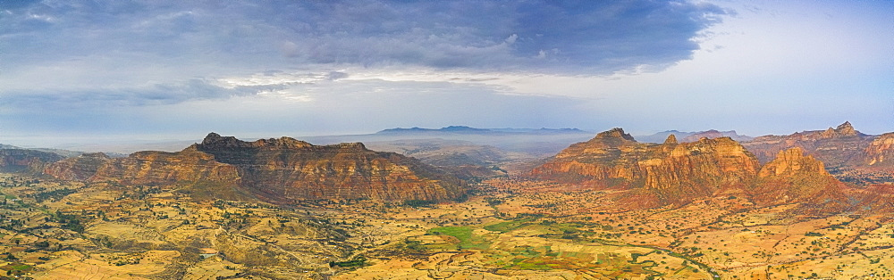 Aerial panoramic by drone of Gheralta Mountains and Dugem, Tigray Region, Ethiopia, Africa