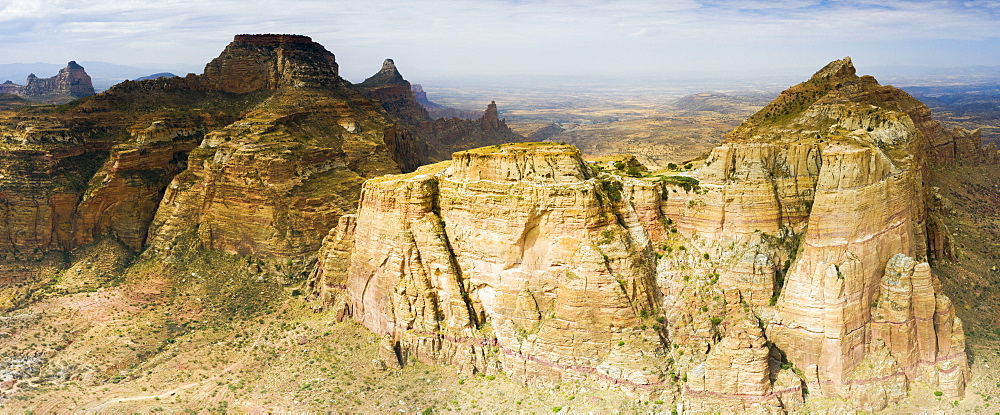 Aerial panoramic view by drone of majestic Gheralta Mountains canyons and cliffs, Tigray Region, Ethiopia, Africa