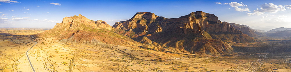 Aerial panoramic of the desert valley at feet of Gheralta Mountains, Hawzen, Tigray Region, Ethiopia, Africa (drone)