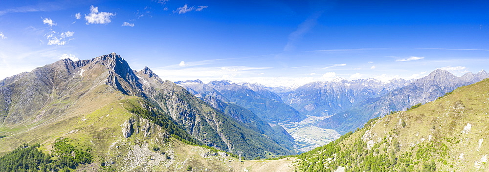 Aerial panoramic of Valchiavenna seen from Monte Berlinghera, Sondrio province, Valtellina, Lombardy, Italy, Europe