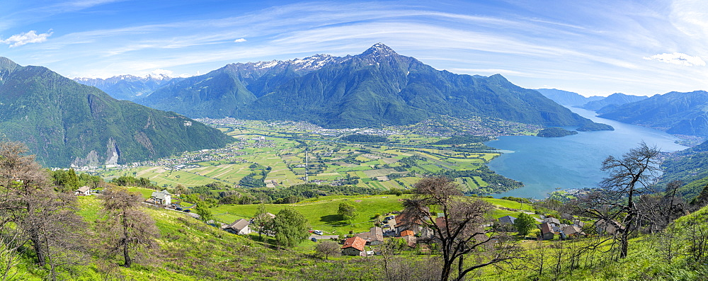 Panoramic of Lake Como and Alto Lario from the rural village of Bugiallo, Como province, Lombardy, Italy