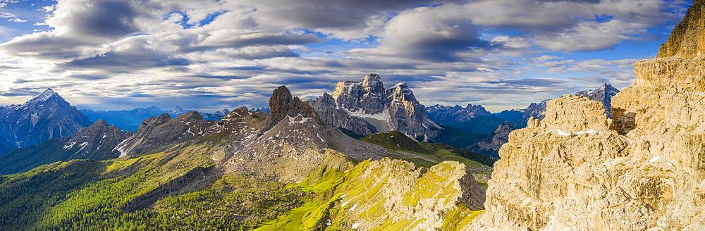 Clouds over Becco di Mezzodi, Monte Pelmo and Antelao, aerial view, Dolomites, Belluno province, Veneto, Italy, Europe