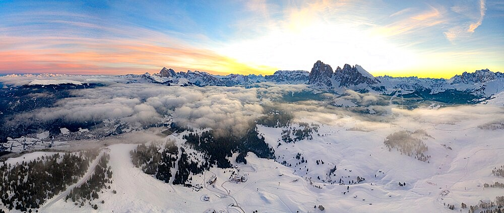 Aerial view of the snowcapped Sassolungo and Sassopiatto mountains at dawn, Seiser Alm, Dolomites, South Tyrol, Italy, Europe - 1179-4945