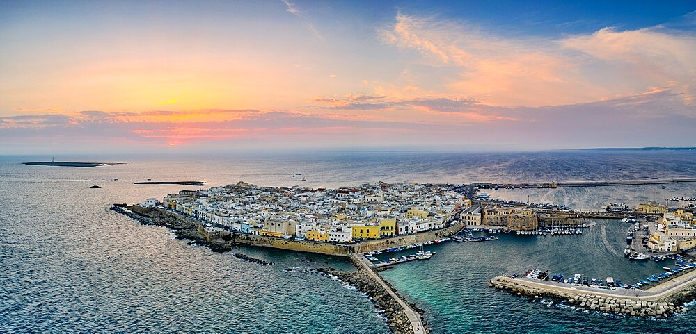 Aerial view of Gallipoli at sunset, Lecce province, Salento, Apulia, Italy, Europe - 1179-4974