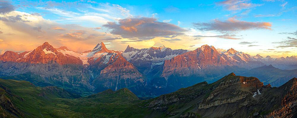 Aerial view of Wetterhorn, Schreckhorn, Finsteraarhorn, Eiger, Monch, Jungfrau mountains sunset, Bernese Oberland, Switzerland - 1179-5025