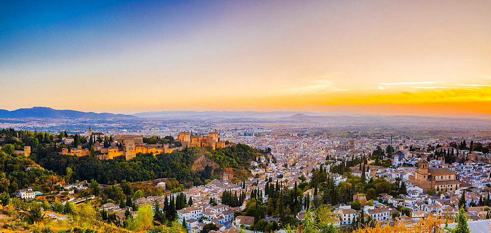 View of Alhambra, UNESCO World Heritage Site, and Sierra Nevada mountains at dusk, Granada, Andalucia, Spain, Europe - 1207-409