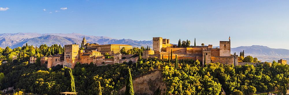 Panoramic view of Alhambra, UNESCO World Heritage Site, and Sierra Nevada mountains, Granada, Andalucia, Spain, Europe - 1207-411