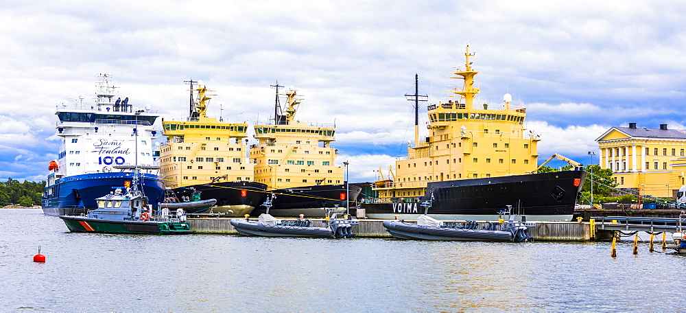 Moored ice breakers in Helsinki, Finland, Europe
