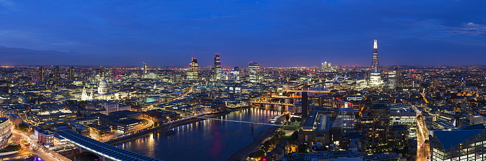 A night-time panoramic view of London and the River Thames from the top of Southbank Tower, showing The Shard and St. Paul's Cathedral, London, England, United Kingdom, Europe - 1225-1060