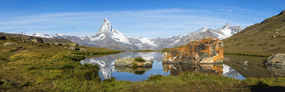 The Matterhorn reflected in Stellisee lake in the Swiss Alps, Switzerland, Europe