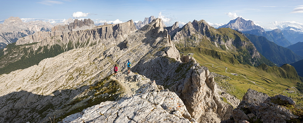 Hiking in typical mountainous terrain of the Dolomites range of the Alps on the Alta Via 1 trekking route near Rifugio Nuvolau, Belluno, Veneto, Italy, Europe