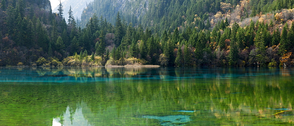 Jiuzhaigou on the edge of the Tibetan Plateau, known for its waterfalls and colourful lakes, located in the north of Sichuan, China, Asia