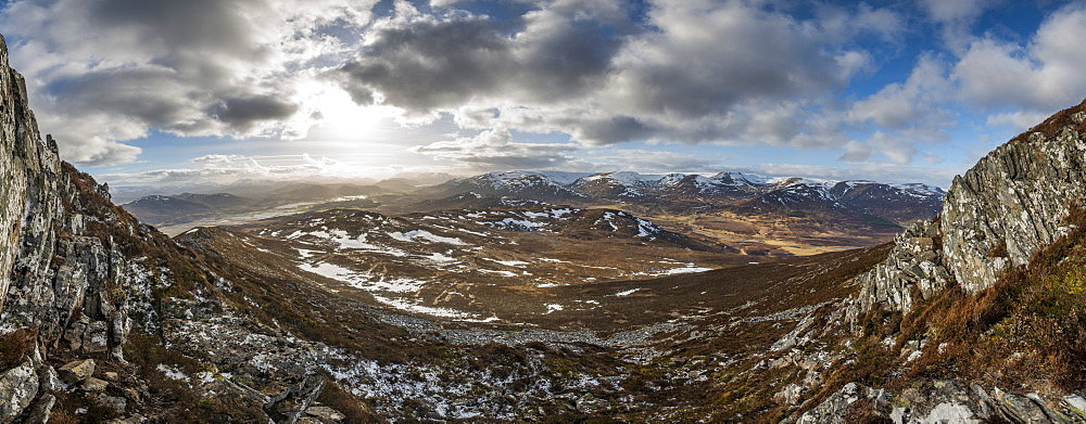 A view across the Cairngorms from the top of Creag Dubh near Newtonmore, Cairngorms National Park, Scotland, United Kingdom, Europe