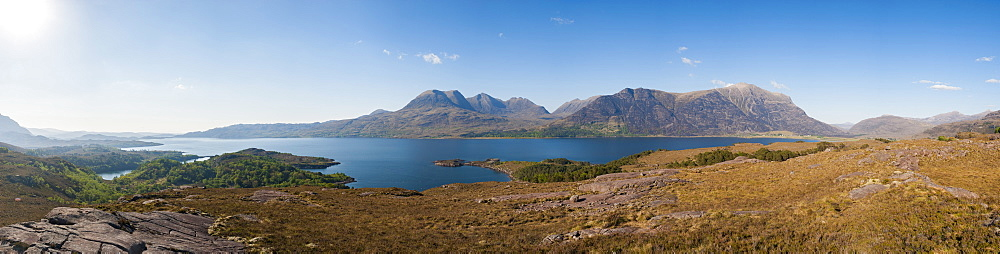 Loch Torridon and Ben Alligin from the Shieldaig to Applecross Road near Ardheslaig in Wester Ross, North West Highlands of Scotland, United Kingdom, Europe