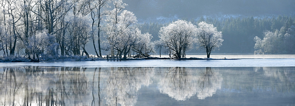 Loch Ard partially frozen over and a hoar frost around Aberfoyle in the Loch Lomond and the Trossachs National Park in mid-winter, Stirling District, Scotland, United Kingdom, Europe - 1228-173