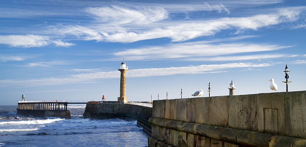 Whitby West Pier panorama and lighthouses, Whitby, North Yorkshire, Yorkshire, England, United Kingdom, Europe