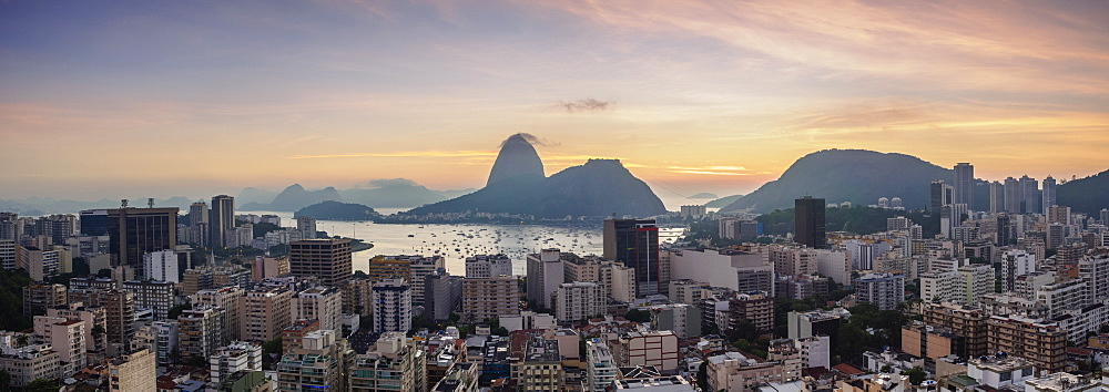 View over Botafogo towards the Sugarloaf Mountain at dawn, Rio de Janeiro, Brazil
