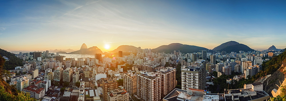 View over Botafogo towards the Sugarloaf Mountain at sunrise, Rio de Janeiro, Brazil