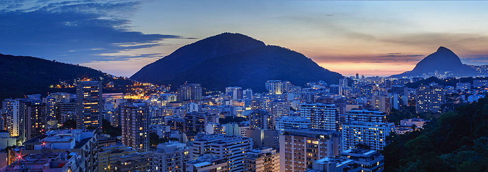 Botafogo and Humaita Neighbourhoods at twilight, elevated view, Rio de Janeiro, Brazil