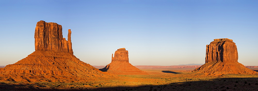 Monument Valley at sunset, Navajo Tribal Park, Arizona, United States of America, North America