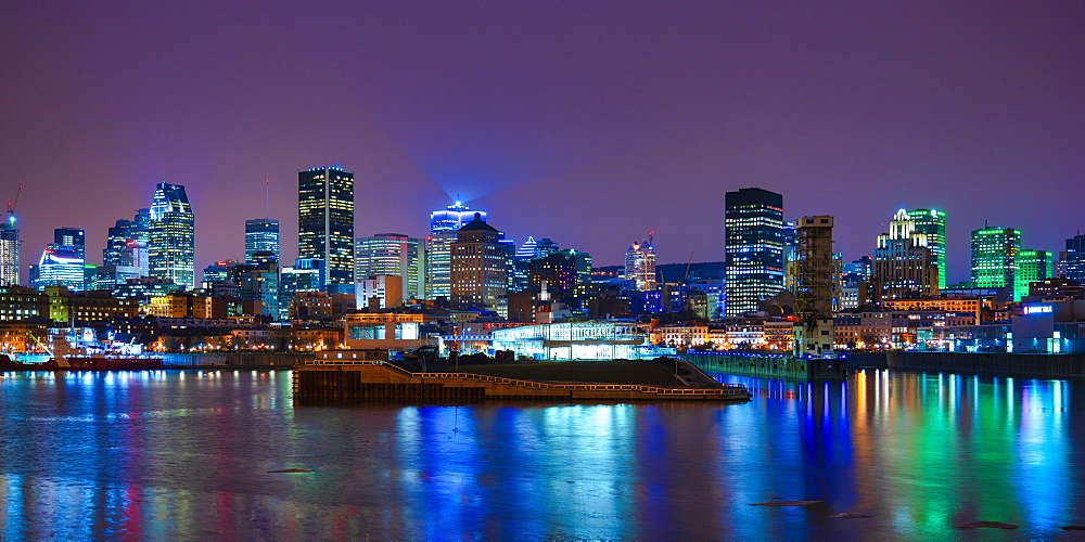 Skyline by night, Montreal, Quebec, Canada, North America - 1264-192