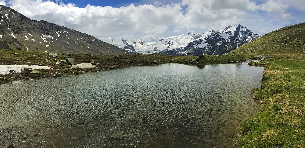 Glacier Forni and alpine lake, Valfurva, Lombardy, Italy, Europe