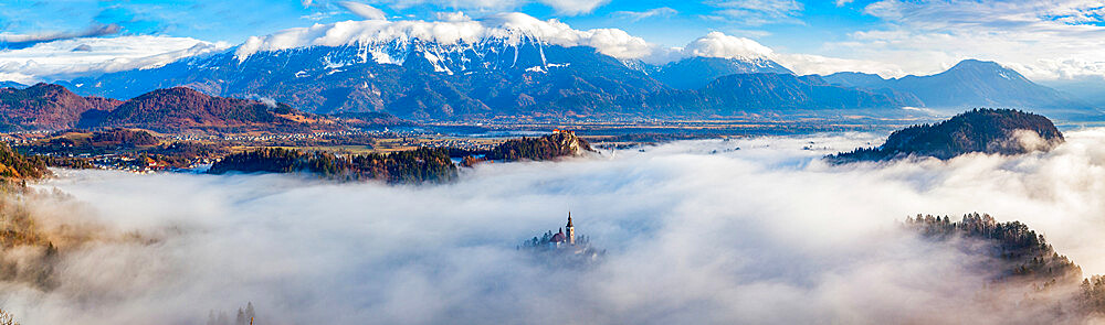 Panorama of Lake Bled in the Julian Alps of the Upper Carniolan region of northwestern Slovenia - 1265-153