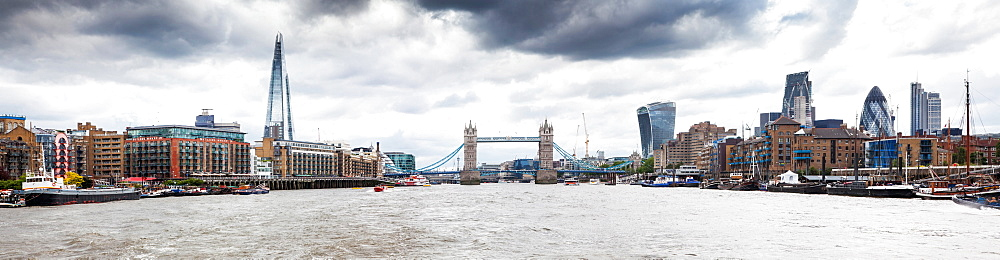 Panorama of London seen from River Thames with the Shard, Tower Bridge and the city, London, England, United Kingdom, Europe