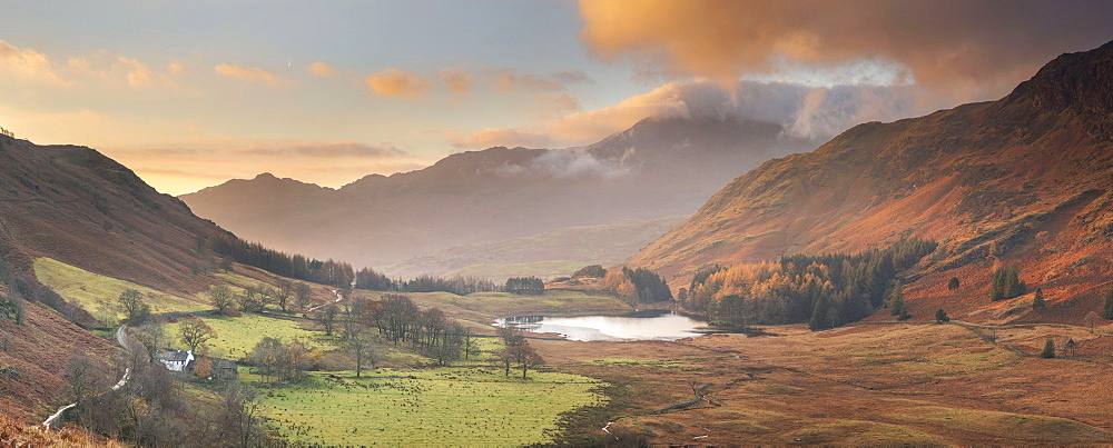 Panoramic Image of view to Blea Tarn in autumn from Side Pike, Langdale Pikes, Lake District National Park, UNESCO World Heritage Site, Cumbria, England, United Kingdom, Europe - 1266-168