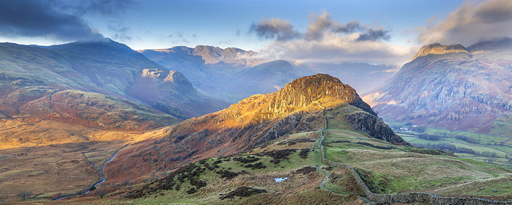 Panoramic image taking in the Langdale Pikes with Side Pike in the foreground, Lake District National Park, UNESCO World Heritage Site, Cumbria, England, United Kingdom, Europe - 1266-173