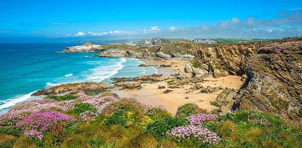 Spectacular clifftop coastal scenery at Newquay in West Cornwall, England, UK.