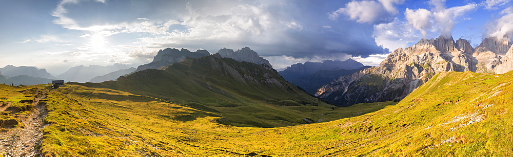 Panoramic view of San Nicolo Pass, Fassa Valley, Trentino, Dolomites, Italy, Europe