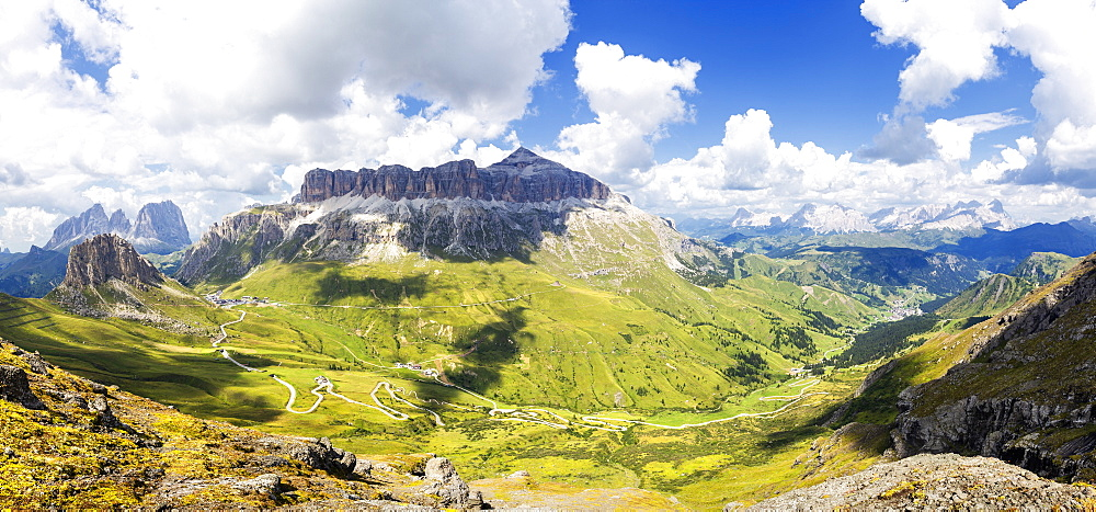 Pordoi Pass road with Sella Group and Sassolungo group. Pordoi Pass, Fassa Valley, Trentino, Dolomites, Italy, Europe. - 1269-334