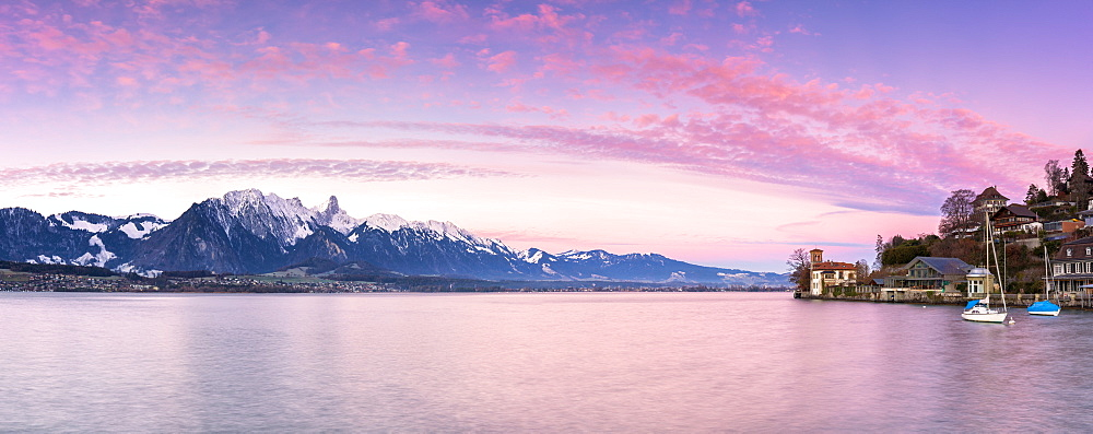 Panoramic view at Oberhofen am Thunersee, Canton of Bern, Switzerland, Europe