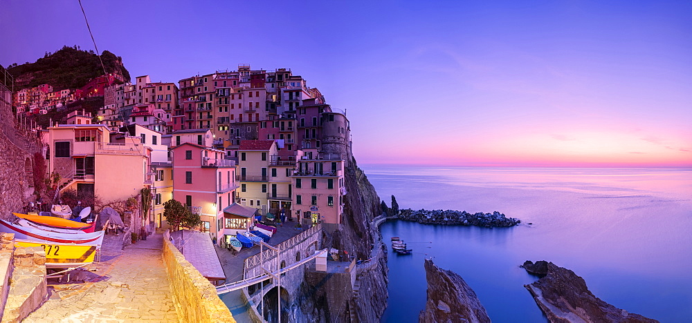 Panoramic view of the sunset at the village of Manarola, Cinque Terre, UNESCO World Heritage Site, Liguria, Italy, Europe - 1269-506