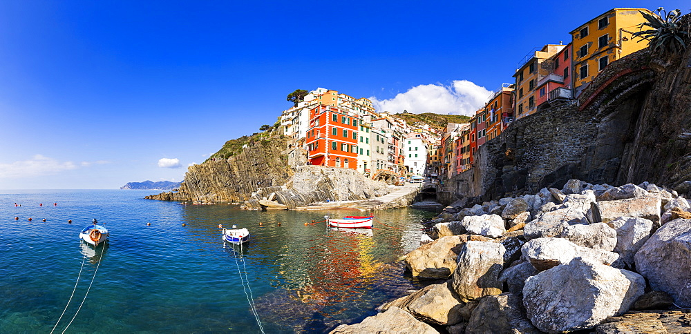Panoramic view of colourful houses of Riomaggiore reflected in the water, Cinque Terre, UNESCO World Heritage Site, Liguria, Italy, Europe - 1269-513