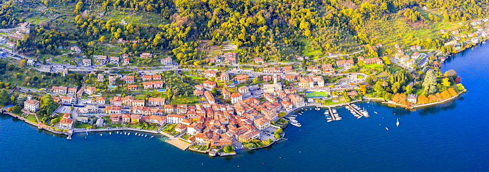 Aerial view of Sala Comacina, Lake Como, Lombardy, Italian Lakes, Italy, Europe